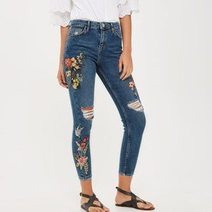 Topshop Embroidered Jamie Jeans, Floral, Size 28